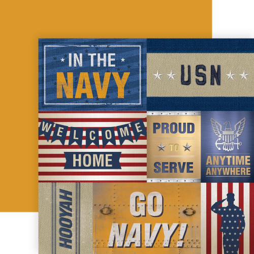 Paper House Productions 12x12 Military Paper: US Navy Tags