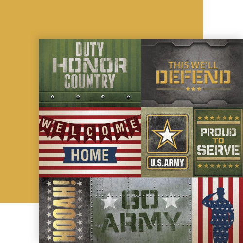 Paper House Productions 12x12 Military Paper: US Army Tags