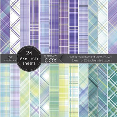 Memory Box 6x6 Paper Pad: Madras Plaid - Blue & Violet