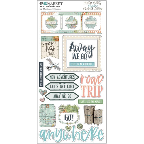 49 and Market Vintage Artistry 6x12 Chipboard Stickers: Anywhere
