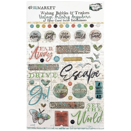 49 and Market Vintage Artistry Wishing Bubbles & Trinkets Epoxy Coated Stickers: Anywhere