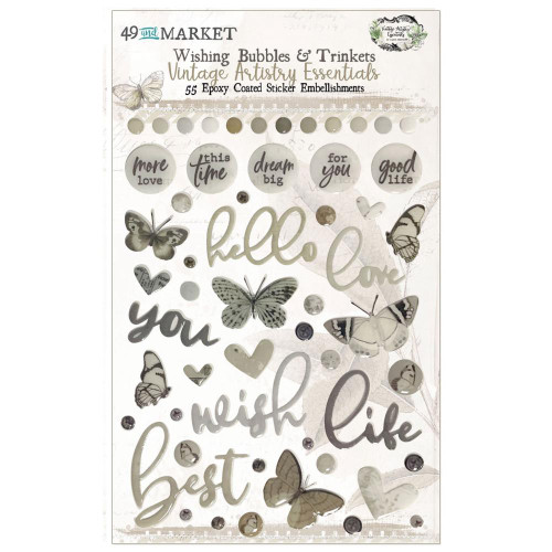 49 and Market Vintage Artistry Wishing Bubbles & Trinkets Epoxy Coated Stickers: Essentials