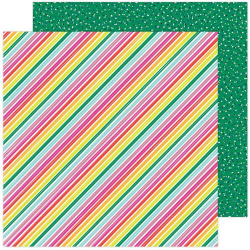 AC Amy Tangerine Brave & Bold 12x12 Paper: Summer Stripes