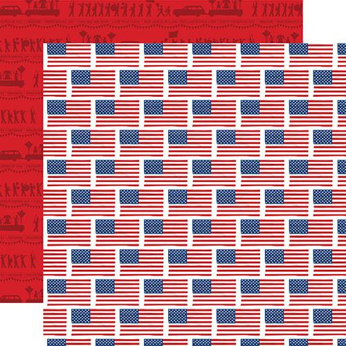 Carta Bella God Bless America 12x12 Paper: Flying Flags