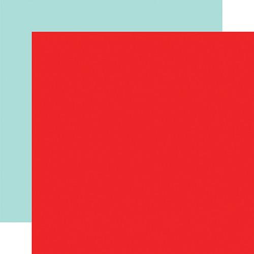 Echo Park I Love School 12x12 Paper: Red / Mint (Coordinating Solid)