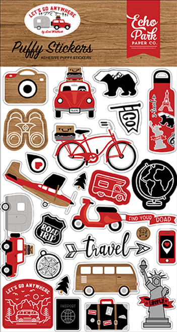 Echo Park Let's Go Anywhere Puffy Stickers