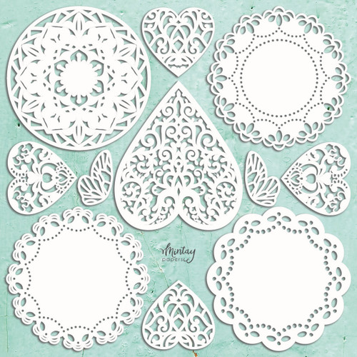 Mintay Papers Chippies 12x12 Sheet: Doilies (11 pcs)