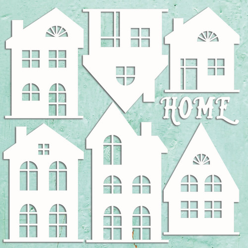 Mintay Papers Chippies 12x12 Sheet: Houses (7 pcs)