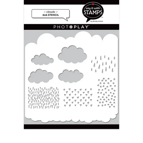 PhotoPlay Say It With Stamps: Clouds 6x6 Stencil
