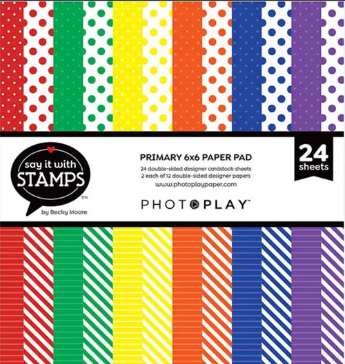 PhotoPlay Say It With Stamps: Primary Dots & Stripes 6x6 Pad
