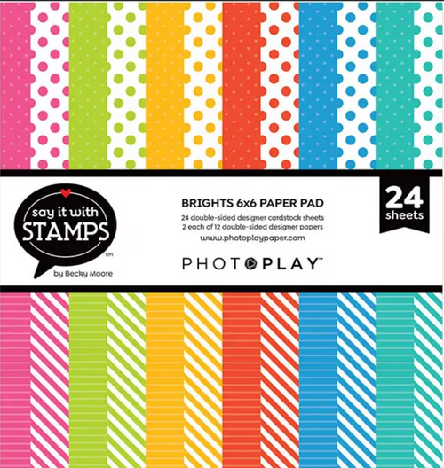 PhotoPlay Say It With Stamps: Brights Dots & Stripes 6x6 Pad