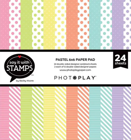 PhotoPlay Say It With Stamps: Pastel Dots & Stripes 6x6 Pad