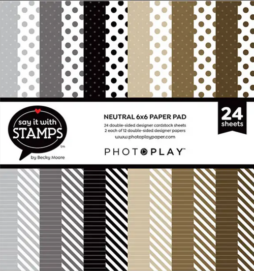 PhotoPlay Say It With Stamps: Neutral Dots & Stripes 6x6 Pad