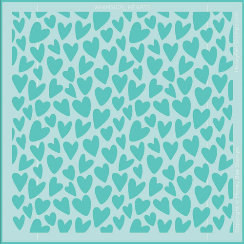 Honey Bee Stamps 6x6 Background Stencil: Whimsical Hearts