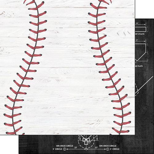 Scrapbook Customs 12x12 Sports Themed Paper: Baseball on White Wood