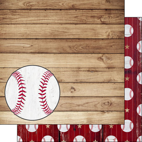 Scrapbook Customs 12x12 Sports Themed Paper: Baseball on Wood