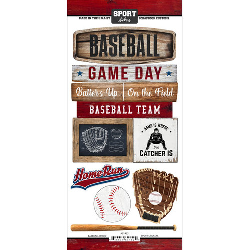 Scrapbook Customs Wood Sports Sticker: Baseball