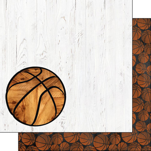 Scrapbook Customs 12x12 Sports Themed Paper: Basketball on White Wood