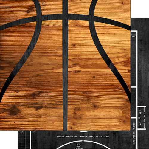 Scrapbook Customs 12x12 Sports Themed Paper: Basketball on Wood