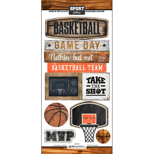 Scrapbook Customs Wood Sports Sticker: Basketball