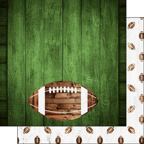 Scrapbook Customs 12x12 Sports Themed Paper: Football on Green Wood