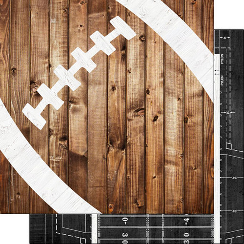 Scrapbook Customs 12x12 Sports Themed Paper: Football on Wood