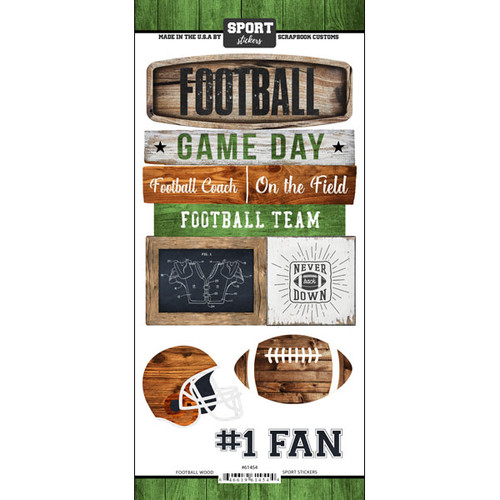 Scrapbook Customs Wood Sports Sticker: Football