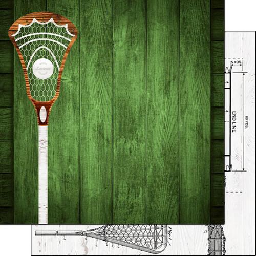 Scrapbook Customs 12x12 Sports Themed Paper: Lacrosse on Wood