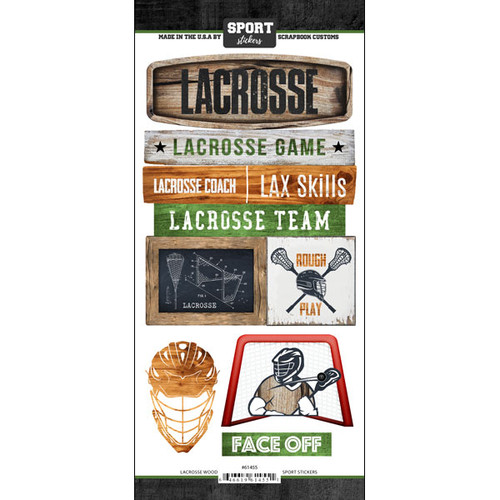 Scrapbook Customs Wood Sports Sticker: Lacrosse