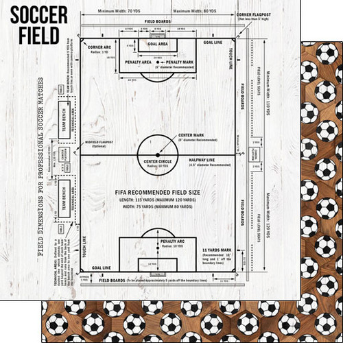 Scrapbook Customs 12x12 Sports Themed Paper: Soccer Field on Wood