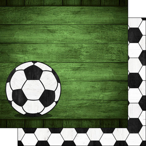 Scrapbook Customs 12x12 Sports Themed Paper: Soccer on Wood