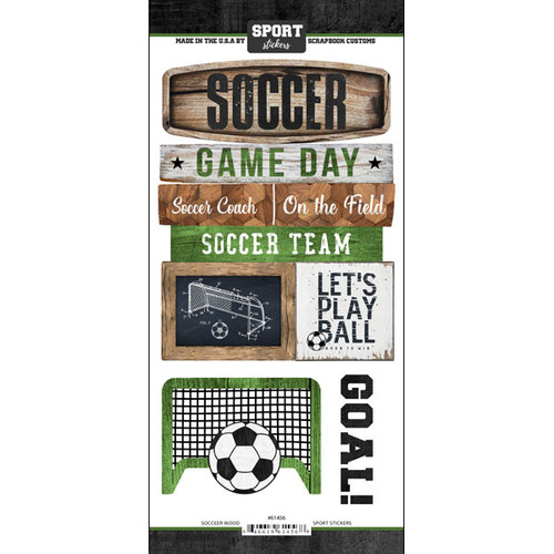 Scrapbook Customs Wood Sports Sticker: Soccer