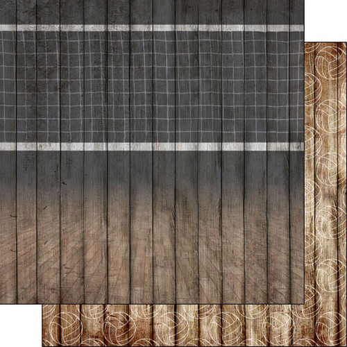 Scrapbook Customs 12x12 Sports Themed Paper: Volleyball Court on Wood