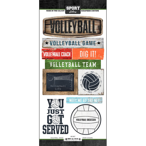 Scrapbook Customs Wood Sports Sticker: Volleyball