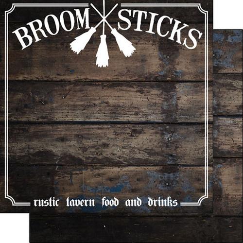 Scrapbook Customs 12x12 Wizard Themed Paper: Broom Sticks