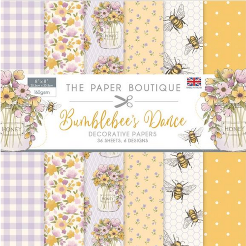 The Paper Boutique 8x8 Paper Pad: Bumblebee's Dance - Decorative Papers