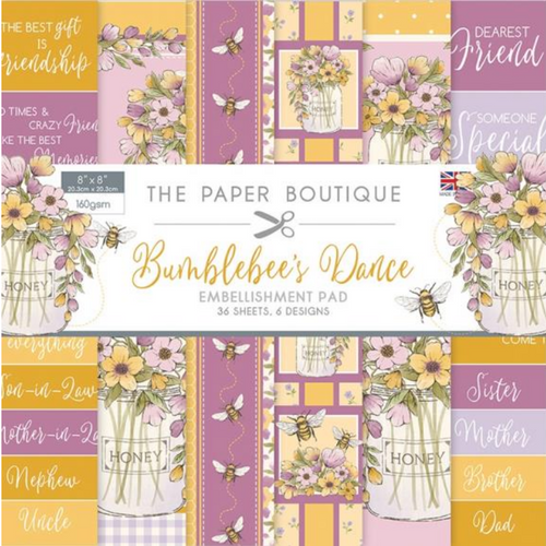 The Paper Boutique 8x8 Paper Pad: Bumblebee's Dance - Embellishment Pad