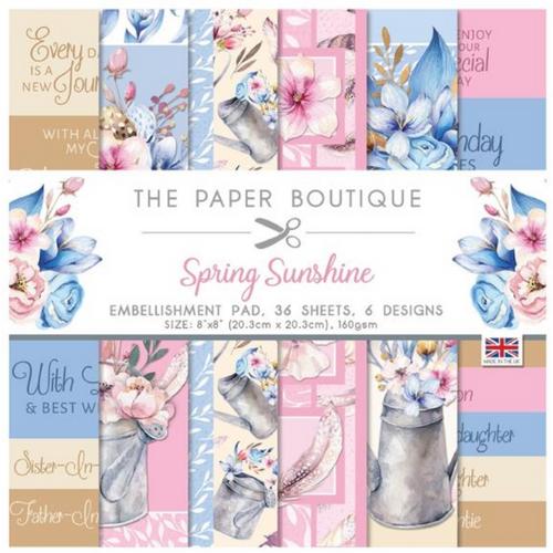 The Paper Boutique 8x8 Paper Pad: Spring Sunshine - Embellishment Pad
