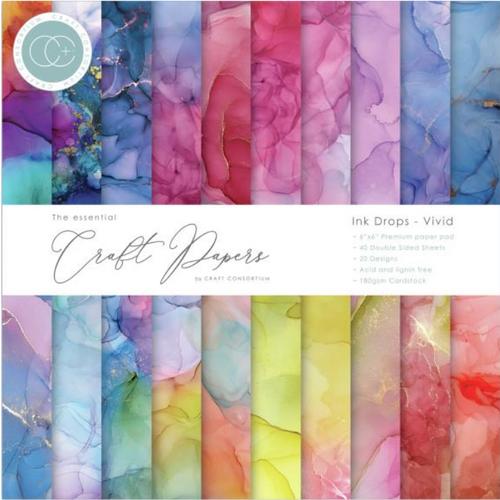 Craft Consortium 6x6 Paper Pad: Ink Drops - Vivid