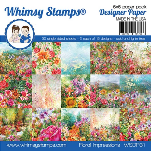 Whimsy Stamps 6x6 Paper Pad: Floral Impressions