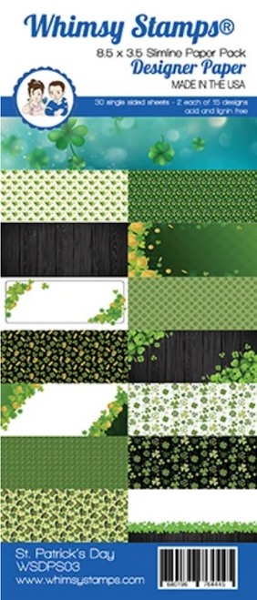 Whimsy Stamps Slimline (8.5x3.5) Paper Pack: St. Patrick's Day
