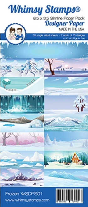 Whimsy Stamps Slimline (8.5x3.5) Paper Pack: Frozen