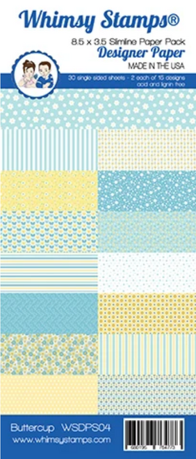 Whimsy Stamps Slimline (8.5x3.5) Paper Pack: Buttercup