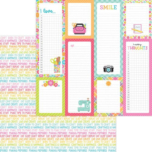 Doodlebug Cute & Crafty 12x12 Paper: Happy Thoughts
