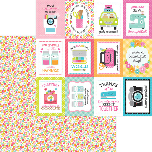 Doodlebug Cute & Crafty 12x12 Paper: Precious Posies