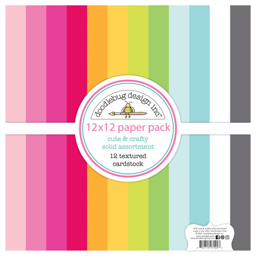 Doodlebug Cute & Crafty 12x12 Textured Cardstock Paper Pack