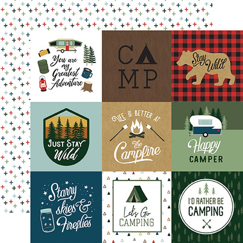 Echo Park Let's Go Camping 12x12 Paper: 4X4 Journaling Cards