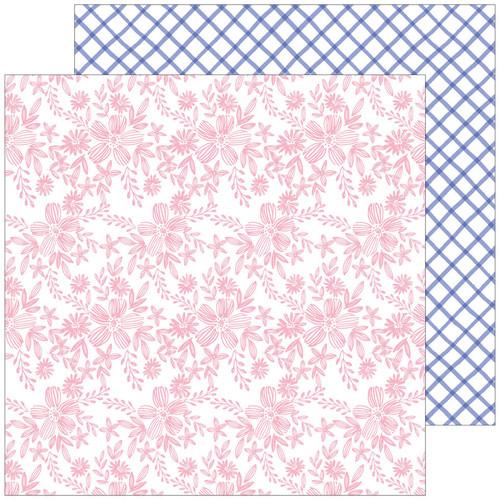 Pinkfresh Studio Happy Blooms 12x12 Paper: Embroidered
