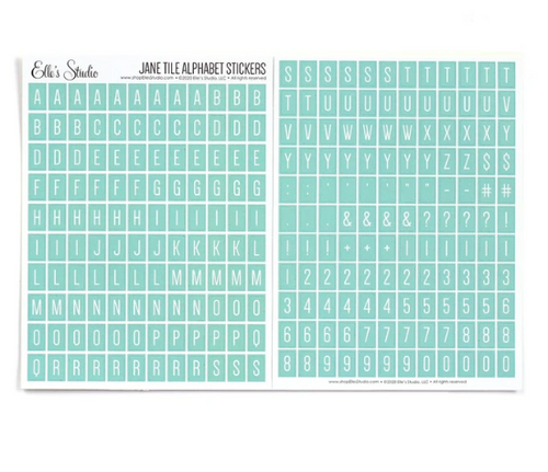Elle's Studio Jane Tile Alphabet Stickers: Light Teal