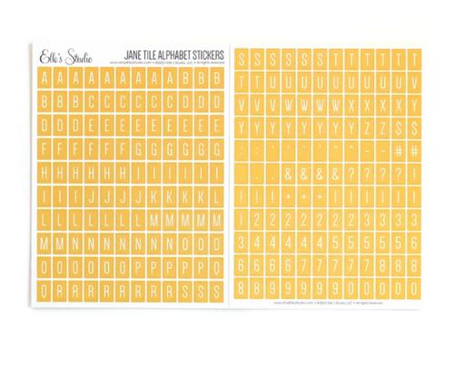 Elle's Studio Jane Tile Alphabet Stickers: Yellow
